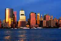 Downtown Manhattan, financial district, seen from Jersey City - New Jersey, Usa